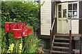 SJ1006 : Signal box and fire buckets - Llanfair Caereinion : Week 34