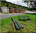 SS9390 : Two benches alongside North Road, Ogmore Vale by Jaggery
