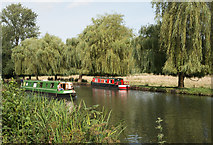 SU9948 : Narrow boats on the River Wey, near Guildford by Julian Osley