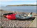 NG9994 : Boats  on  the  stony  beach  Badluarach  jetty by Martin Dawes