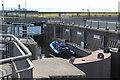ST1972 : Boat in lock, Cardiff Bay Barrage by M J Roscoe
