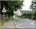 SY5997 : Warning sign - no footway for 200 yds, Bull Lane, Maiden Newton by Jaggery