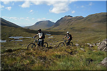NG9359 : MTB cyclists on the Bridge of Grudie to Torridon hilltrack by Julian Paren