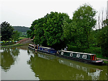 SP6989 : Moored narrowboats at Foxton Junction in Leicestershire by Roger  Kidd