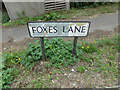 TL9226 : Foxes Lane sign by Geographer