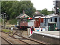TL8928 : Departing Train & Signal Box at Chappel & Wakes Colne Railway Station by Adrian Cable