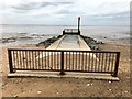 TF6636 : Heacham River outfall at low tide by Richard Humphrey