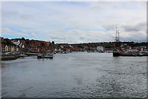 NZ8911 : View Upriver from Whitby Bridge by Chris Heaton