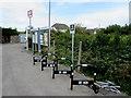 ST5484 : Severn Beach railway station cycle racks by Jaggery