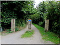 ST5484 : Wooden posts across Cycle Route 41 south of Severn Beach by Jaggery