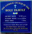 SU1559 : Information board for The Catholic Church of the Holy Family, Pewsey by Jaggery