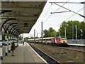 NZ2742 : LNER train speeding through Durham station by Stephen Craven