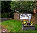 ST8652 : Westbury boundary and twinning information sign by Jaggery