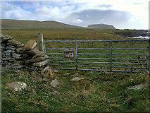 HU3909 : Gate on Coastal Path to Sumburgh Head by David Dixon
