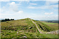 NY7768 : Hadrian's Wall crossing high point of Hotbank Crags by Trevor Littlewood