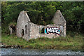 NT9751 : A ruined salmon shiel by the River Tweed by Walter Baxter