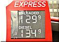 J3373 : Fuel prices sign, Belfast (11 October 2018) by Albert Bridge