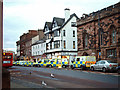 NY4055 : Police vehicles outside temporary HQ, English Street, 2006 by Rose and Trev Clough