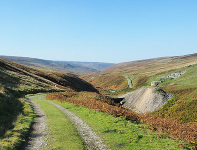 NY9604 : Hill road descending to Great Punchard Gill by Trevor Littlewood