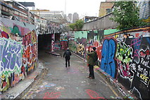 TQ3179 : View back along the old Eurostar terminal access road from Leake Street by Robert Lamb