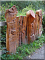SN6862 : Wood carvings near Cors Caron in Ceredigion by Roger  Kidd