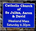 ST3490 : Information notice outside the Catholic Church, Caerleon by Jaggery