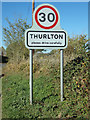 TM4198 : Thurlton Village Name sign on Church Road by Adrian Cable