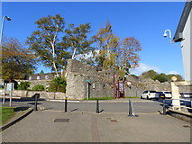 ST5393 : The Portwall, and car park access, Chepstow by Ruth Sharville