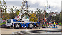 J3674 : Crane and statue, Belfast by Rossographer