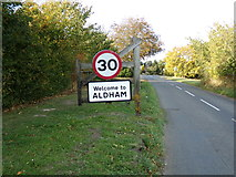 TL9125 : Aldham Village Name sign on Brook Road by Geographer