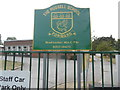 TQ0196 : Nameboard outside The Russell School, Chorleywood by David Hillas