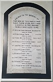 TG3609 : WW2 war memorial inside St Peter's church, Lingwood by Helen Steed