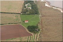TM0308 : Chapel of St. Peter on the Wall, Bradwell-on-Sea.: aerial 2018 (2) by Simon Tomson