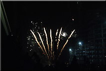 TQ1985 : View of fireworks in the Light Up the Night event from the Wembley Stadium walkway #10 by Robert Lamb