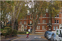 TQ2585 : Green and flats at the corner of West End Lane, West Hampstead by Christopher Hilton
