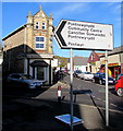 SO2701 : Direction and distances sign on a Pontnewynydd corner by Jaggery