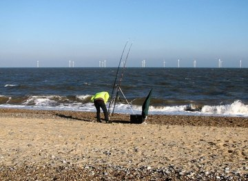 TG5310 : Beach fishing at North Denes by Evelyn Simak