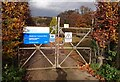 TQ5541 : Entrance gate to the Sewage Works by John P Reeves