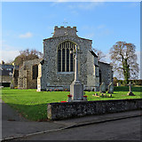 TL3142 : Litlington: War Memorial and St Catherine's Church by John Sutton