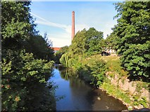 SJ9398 : Junction Mill Chimney from Tame Aqueduct by Gerald England