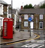 ST1494 : Red phonebox, Penallta Road, Ystrad Mynach   by Jaggery