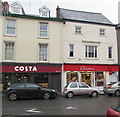 SO0428 : Costa Coffee and Clinton cards shop, High Street, Brecon by Jaggery