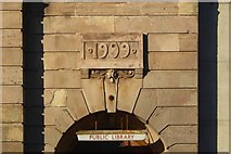 NS3975 : Dumbarton Public Library: date stone by Lairich Rig