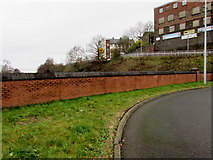 ST1599 : Wall at the southern edge of Bargoed bus station by Jaggery
