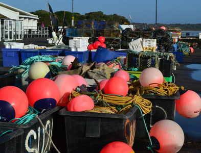 SZ1891 : Fishing floats, Mudeford Quay by David Martin
