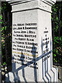 NY4154 : Harraby War Memorial (2) - Names by Rose and Trev Clough