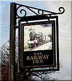 ST1095 : Railway Inn name sign, Llanfabon by Jaggery