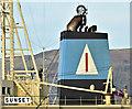 """J3576 : The bulk carrier """"Sunset"""" (funnel), Belfast harbour (December 2018) by Albert Bridge"""