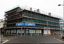 ST3188 : Extensive scaffolding on a city centre corner, Newport by Jaggery