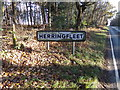 TM4698 : Herringfleet Village Name sign by Adrian Cable